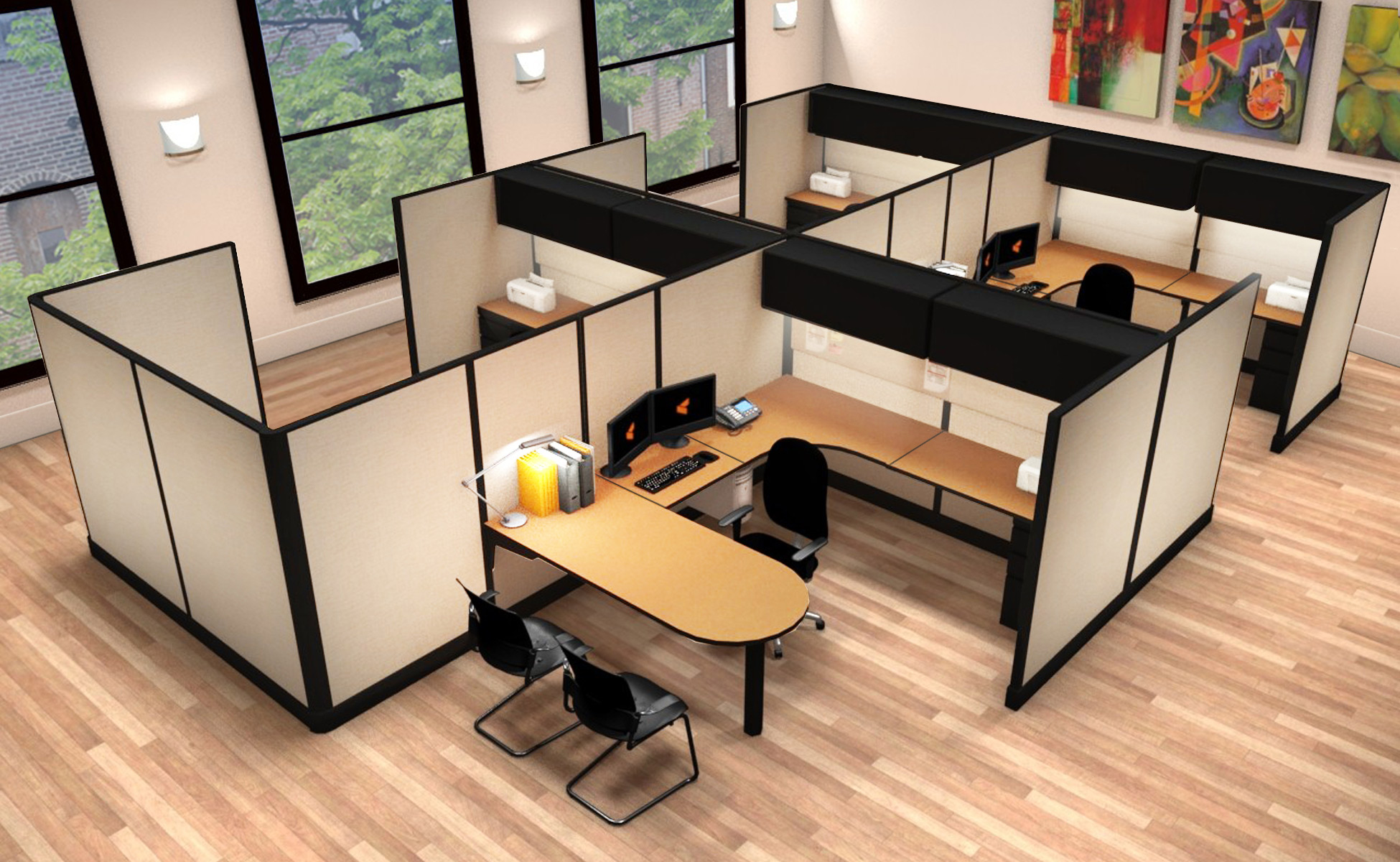 8x12 Commercial Office Workstations - 6 Pack Cluster