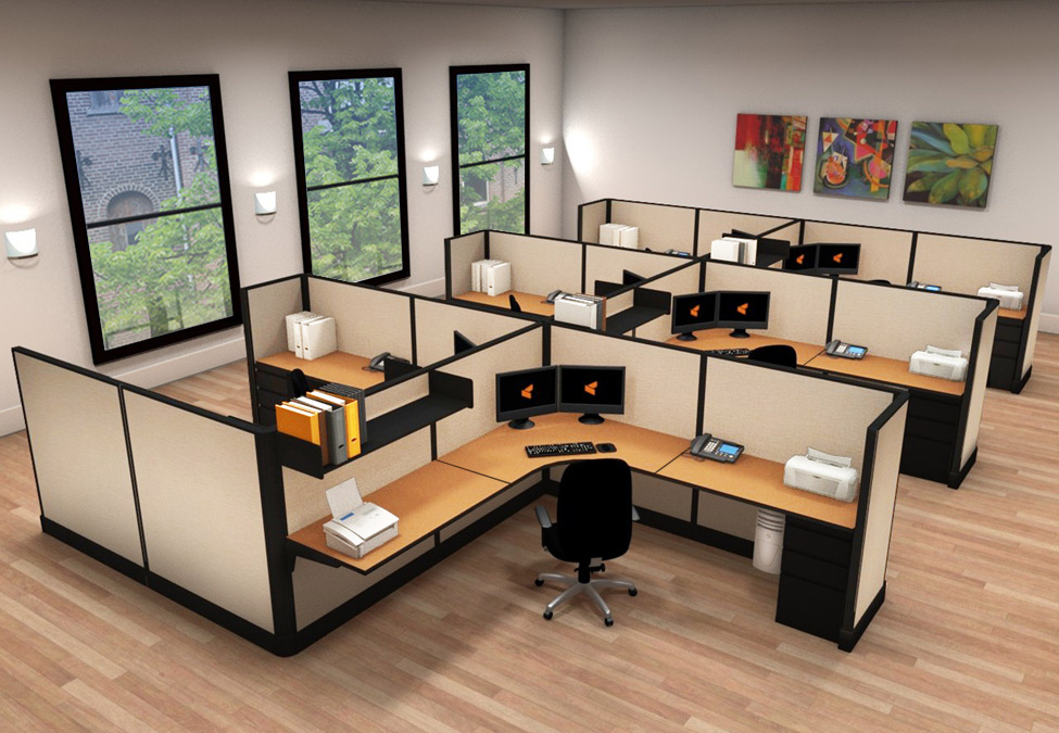 8x8 Modern Corporate Office Furniture - 6 Pack Cluster