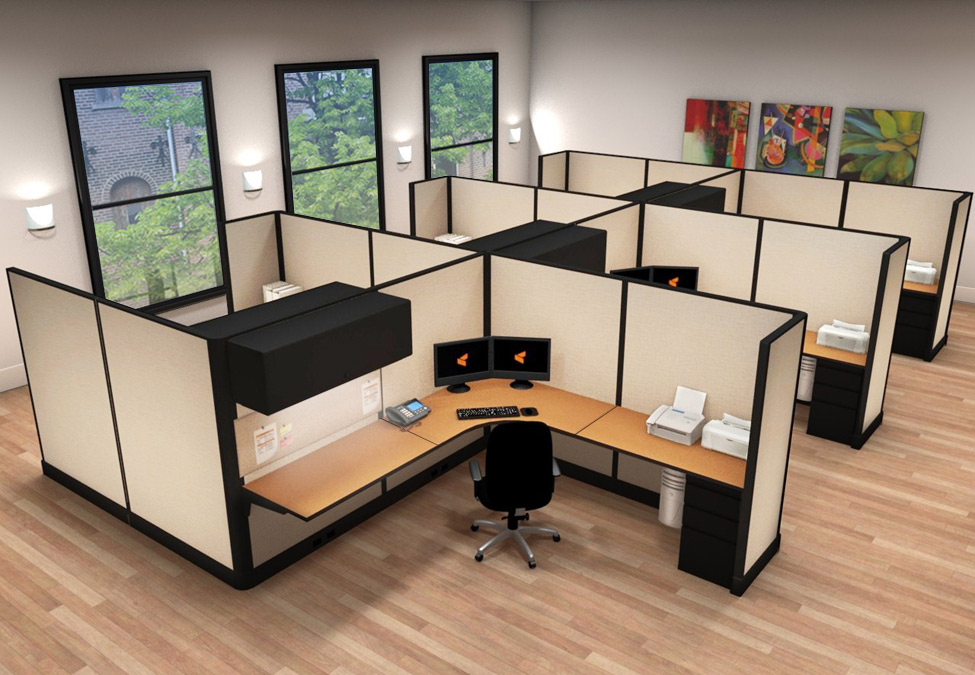 8x8 Modern Business Office Furniture - 6 Pack Cluster