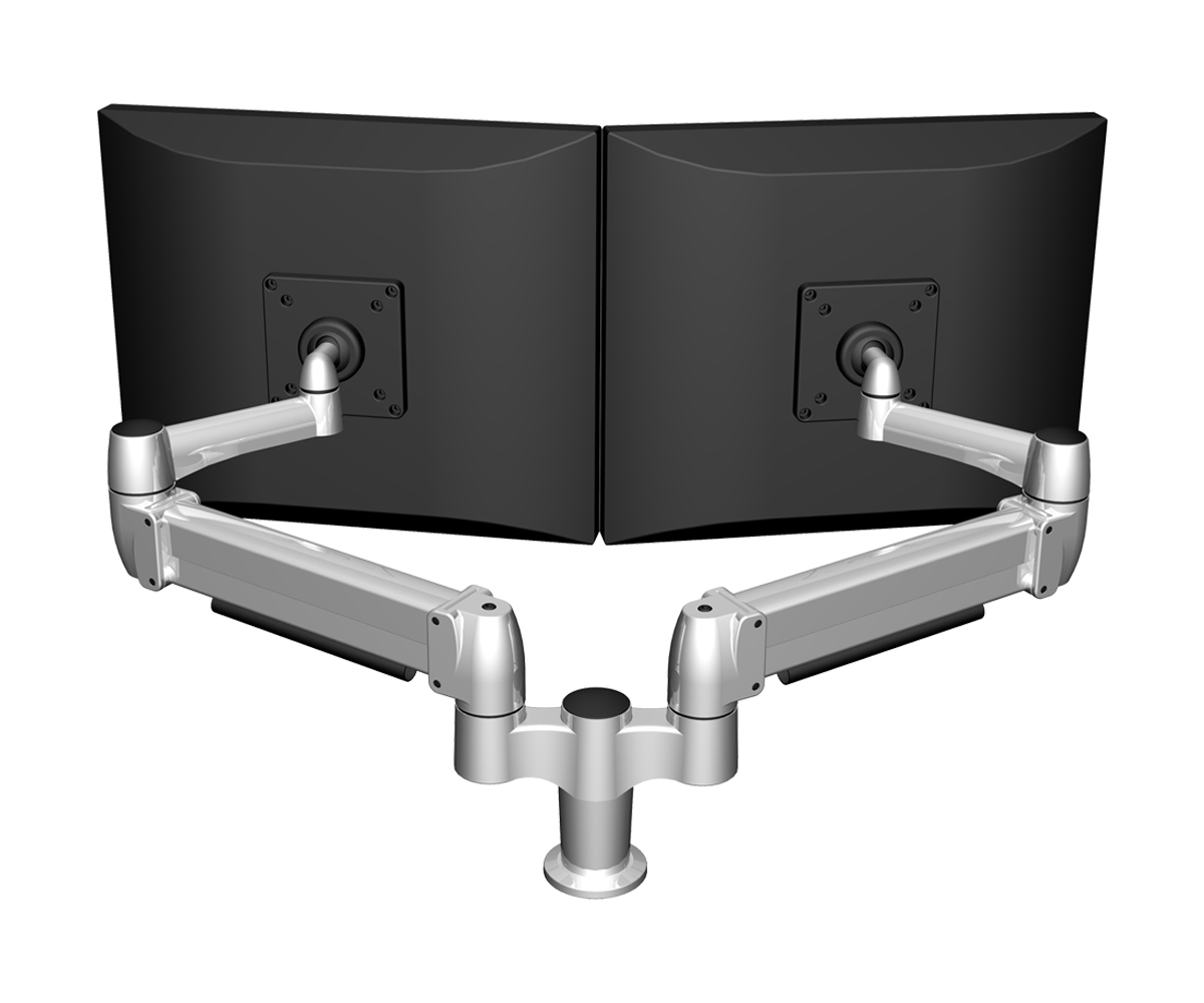 Large L Desks 6x8 and 8x8 - Monitor arms let you adjust the angle, depth and height of your monitors, giving you an eye-level ergonomic connection to your work. Choose from a variety of models for 1-4 screens, seated and standing applications.
