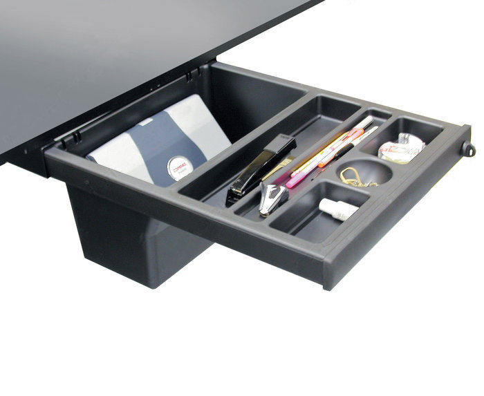 Large L Desks 6x8 and 8x8 - This lockable pelican drawer features large capacity storage bin, which is recessed for knee clearance.