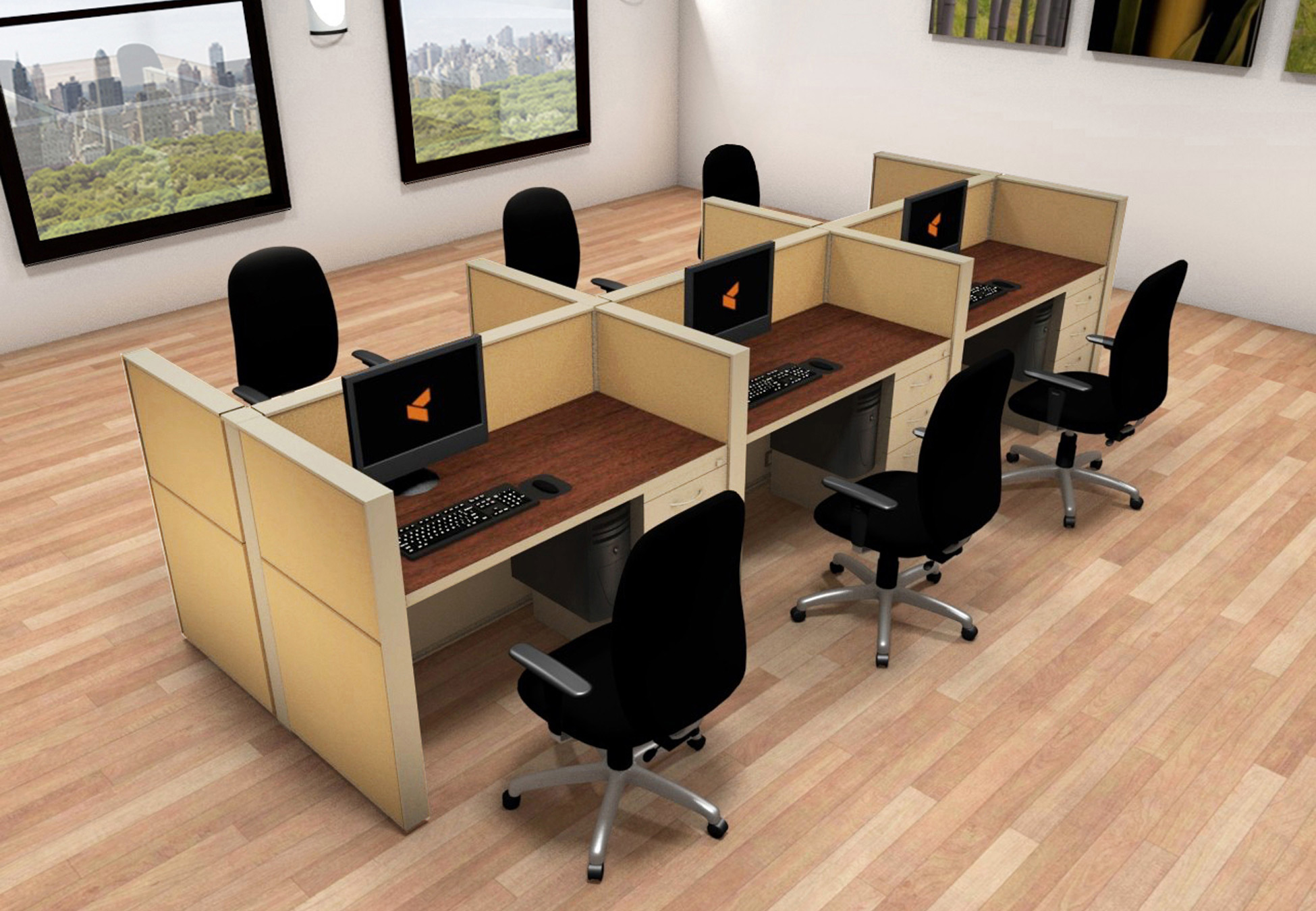 2x4 Cubicle Workstations from AIS - 6 Pack Cluster