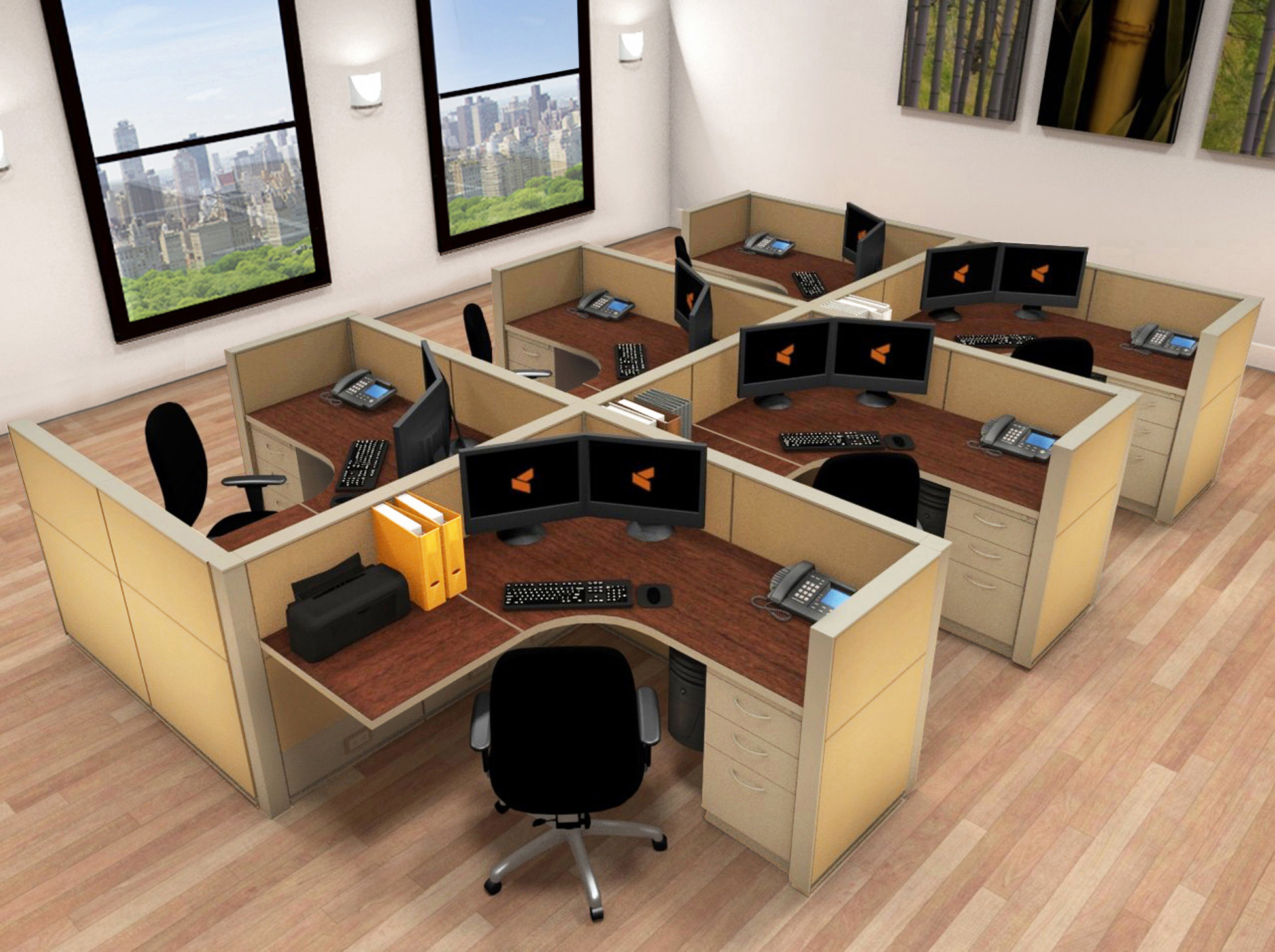 5x5 Cubicle Workstations from AIS - 6 Pack Cluster