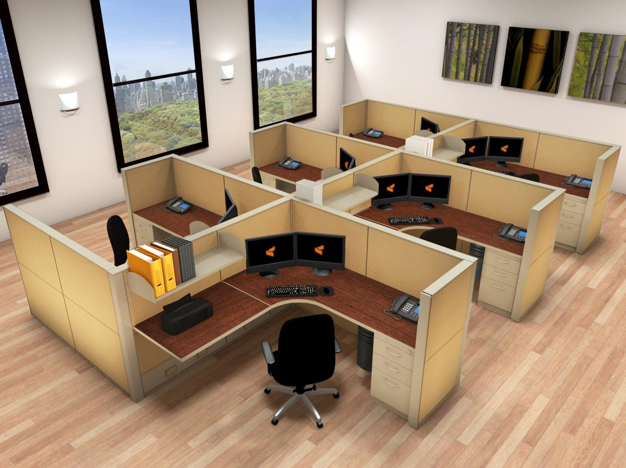 6x6 Cubicle Workstations From AIS   6 Pack Cluster