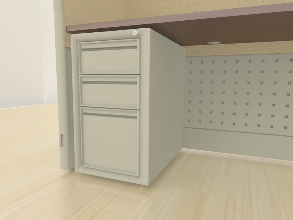 "6x6 Cubicle Workstations from AIS - a ""box-box-file"" pedestal is an under-surface storage solution that includes two small drawers (for papers, pencils, etc.) and one larger drawer for hanging files. Lock and key come standard."