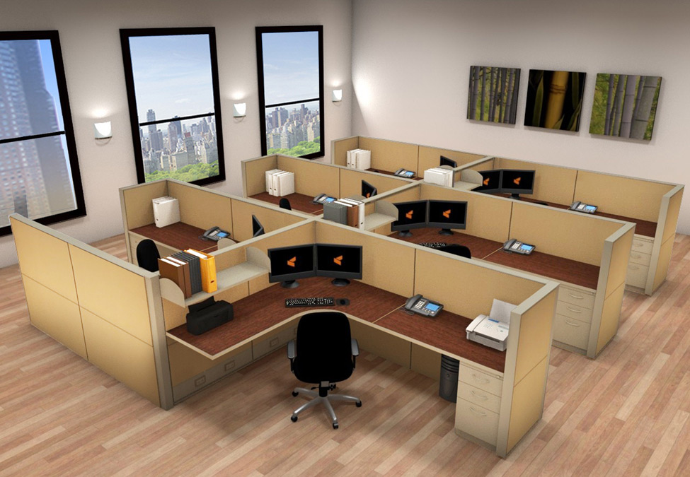 6x8 Cubicle Workstations from AIS - 6 Pack Cluster