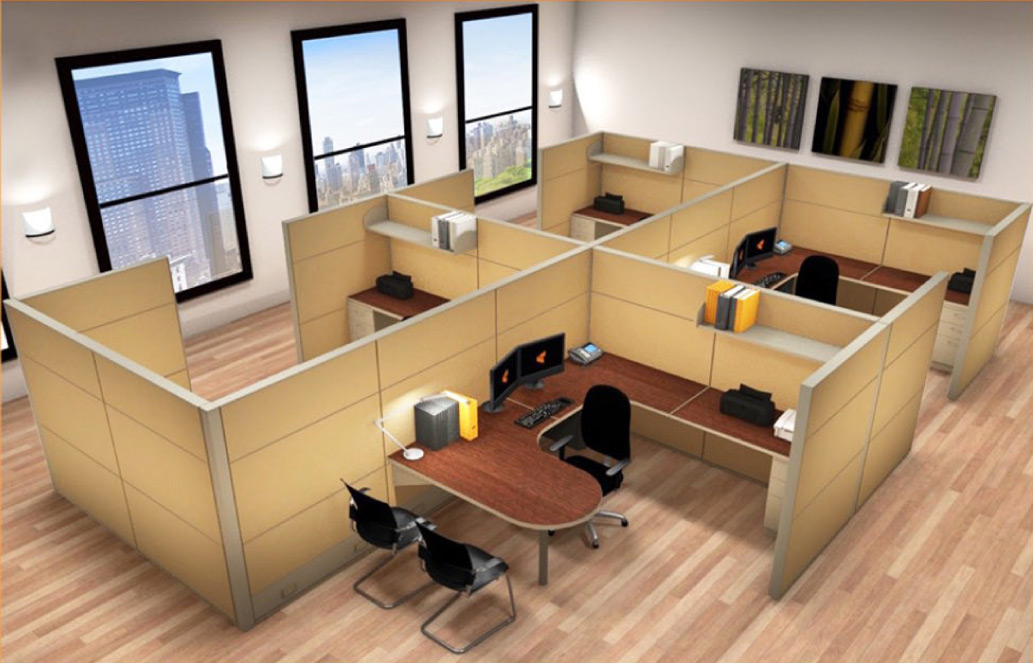 8x12 Cubicle Workstations from AIS - 4 Pack Cluster