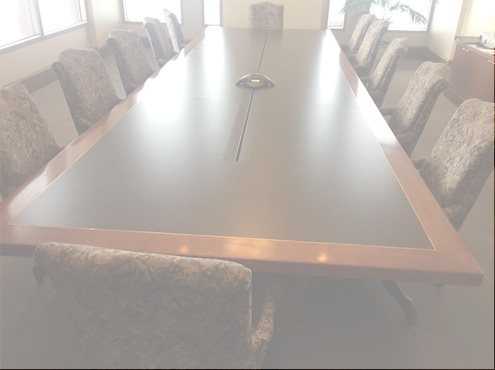 Used Conference Room Tables - Leather Inlay Table - Used Office Furniture For Sale