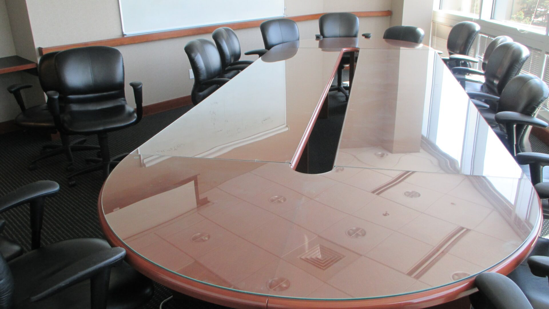 Glass Top Conference Table - Excellent Condition
