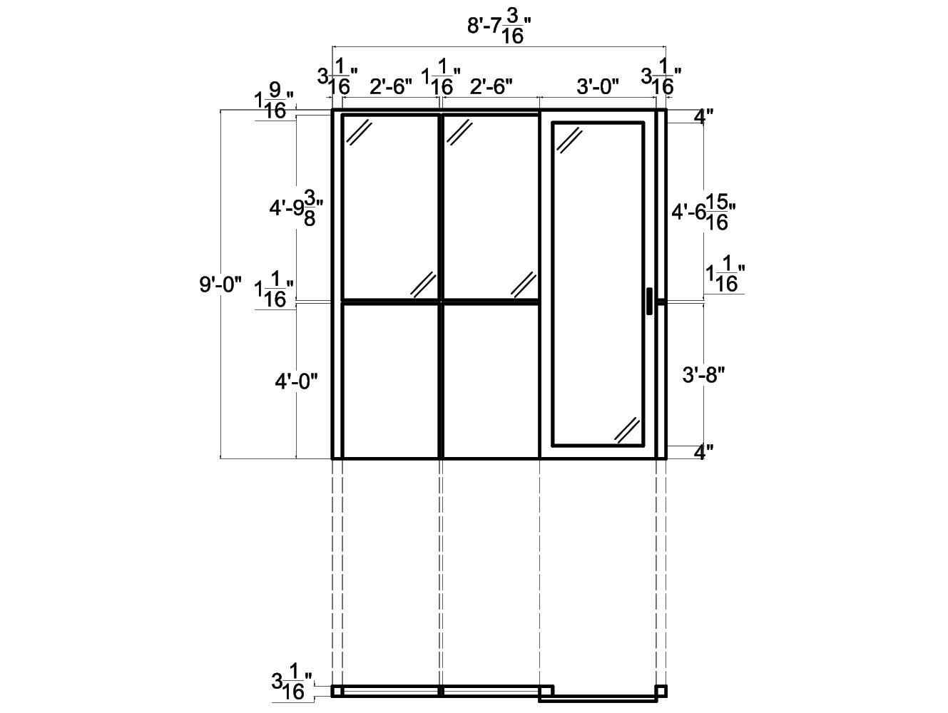 Glass Wall Panels from NXTWALL - 2D schematic