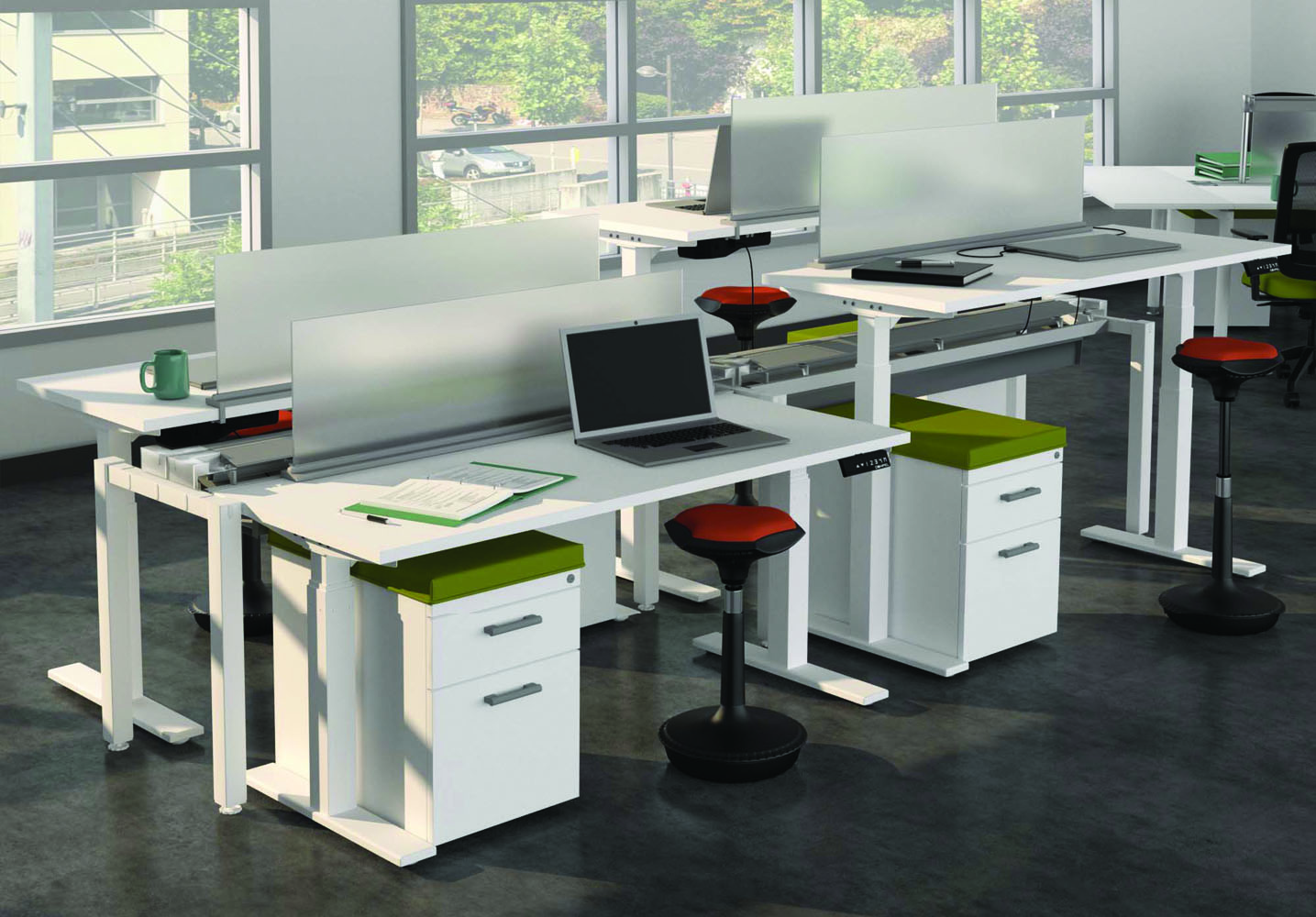 Computer Desk And Chair Set - Team Spaces Office Furniture Sets