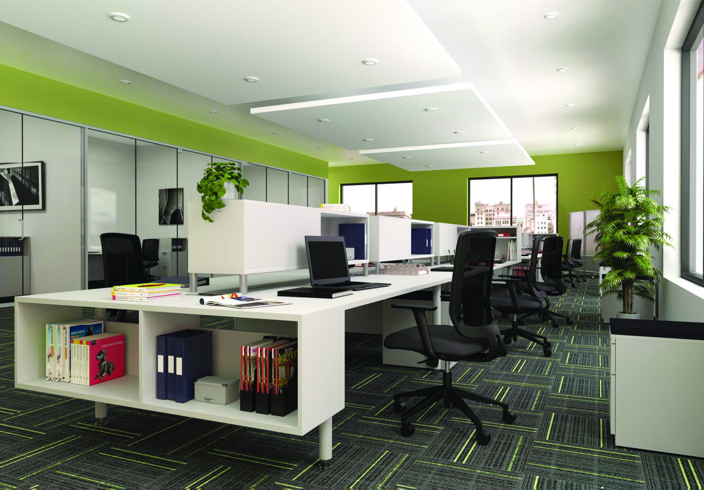 Desk And Chairs - Team Spaces Office Furniture Sets