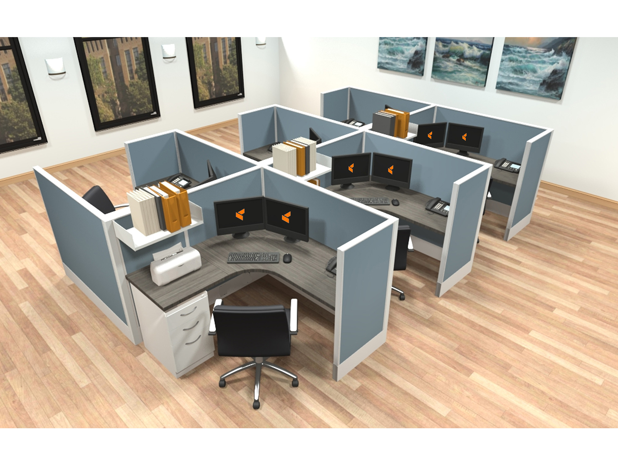 5x5 modular workstations from AIS - 6 Pack Cluster