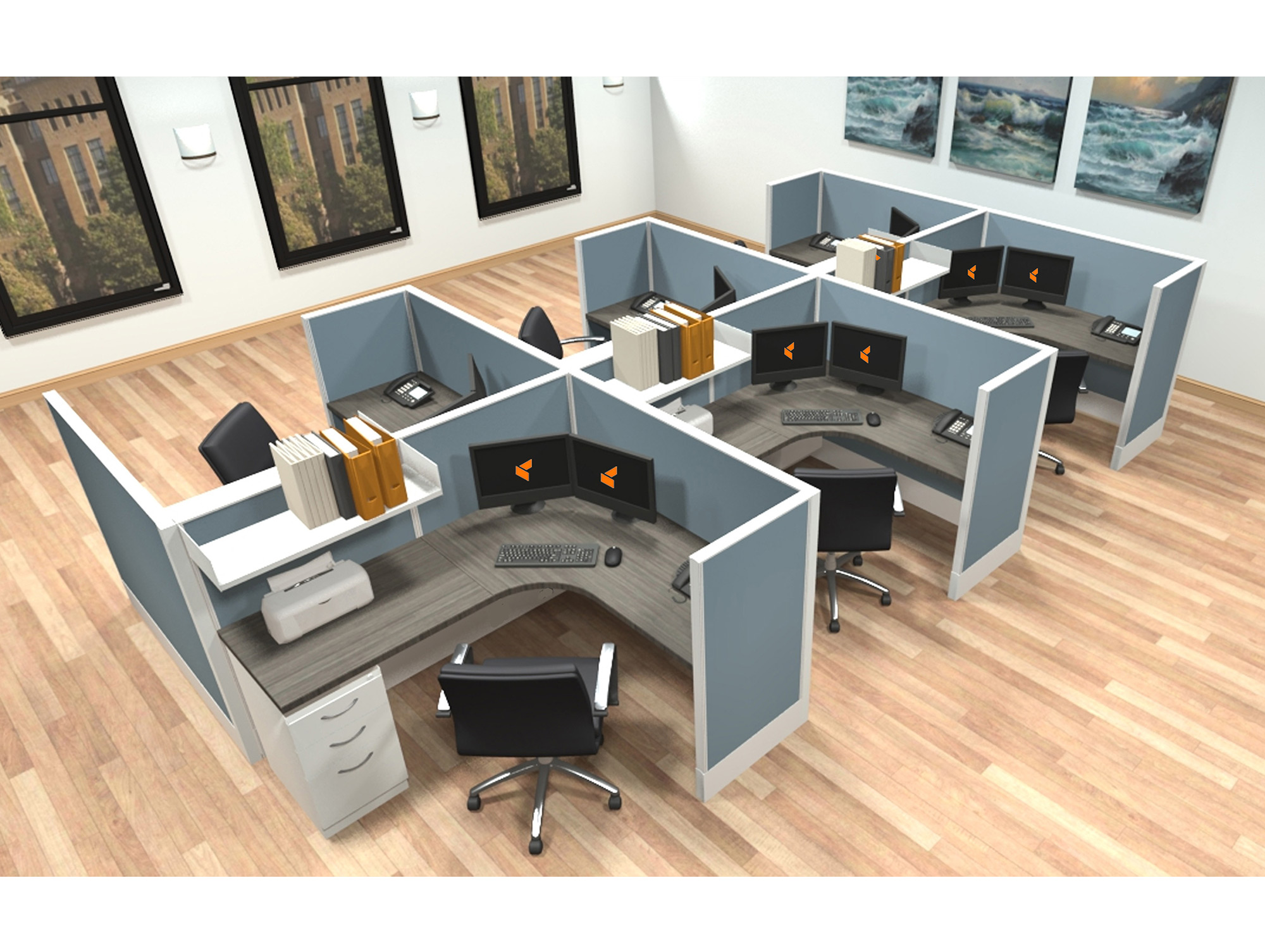 5x6 modular workstations from AIS - 6 Pack Cluster