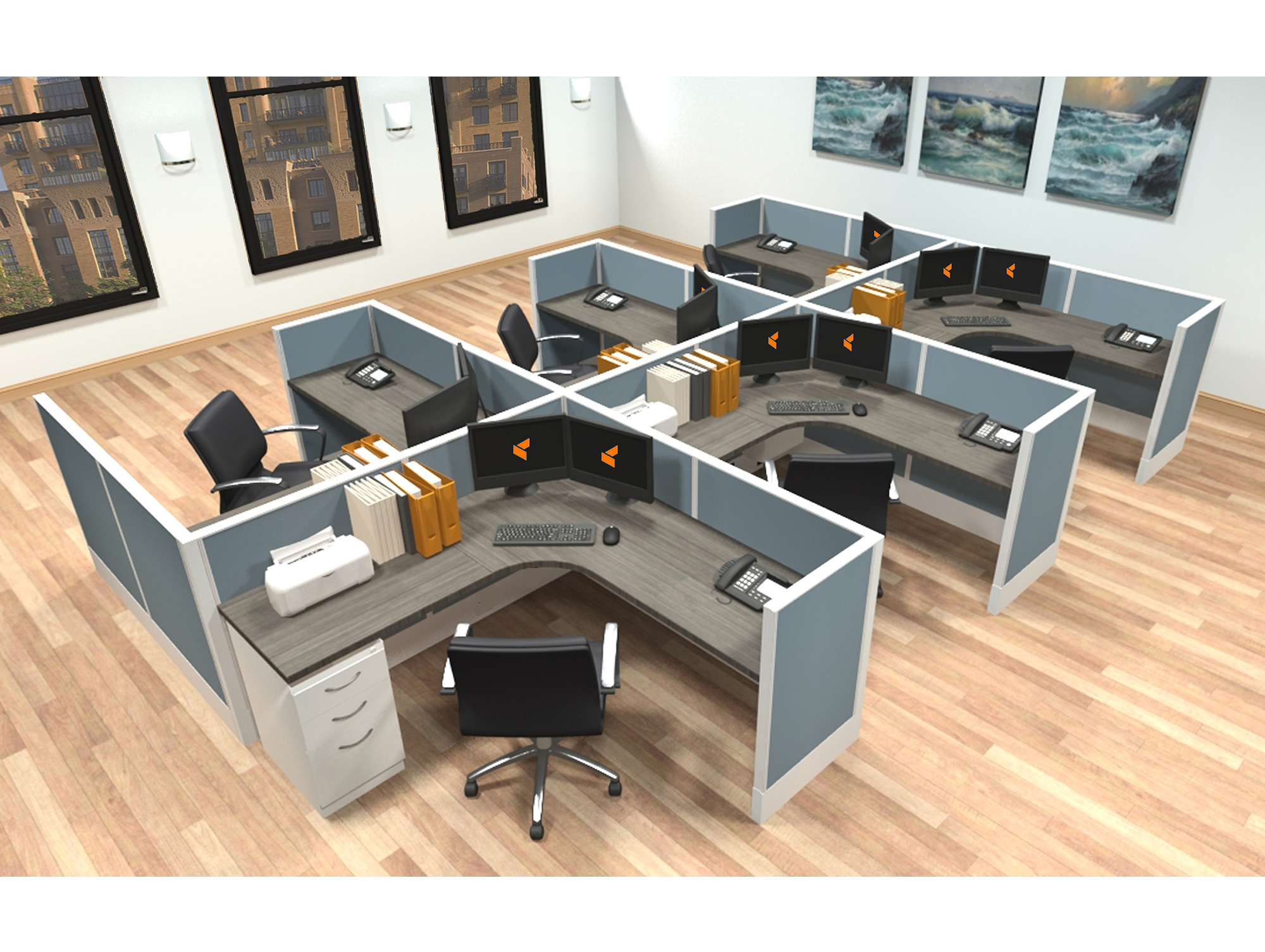 6x6 Modular Workstations From AIS   6 Pack Cluster