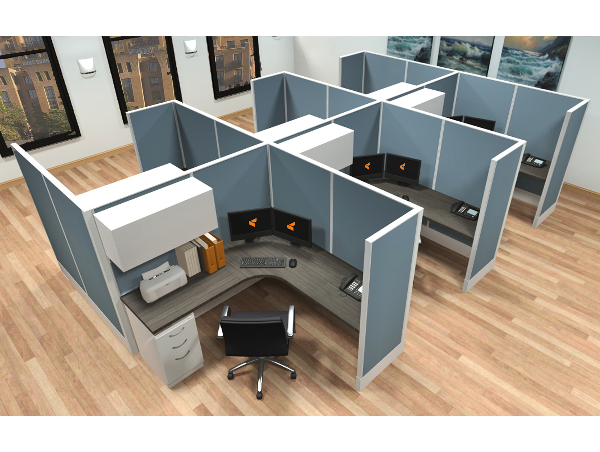 6x6 modular workstations from AIS - 6 Pack Cluster