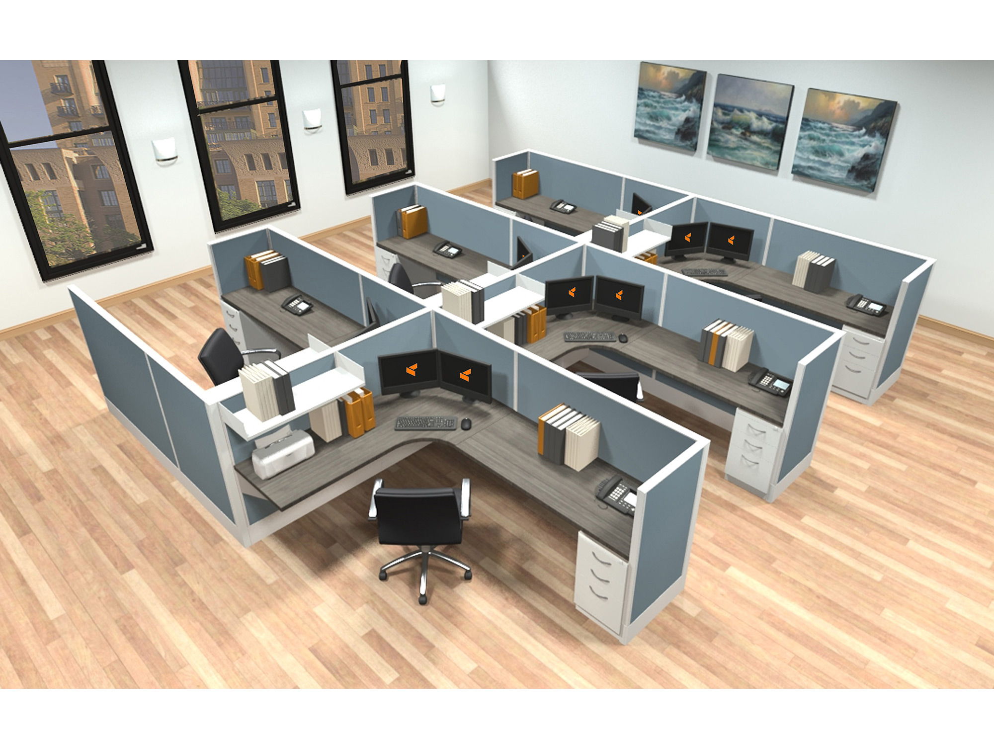 6x8 modular workstations from AIS - 6 Pack Cluster