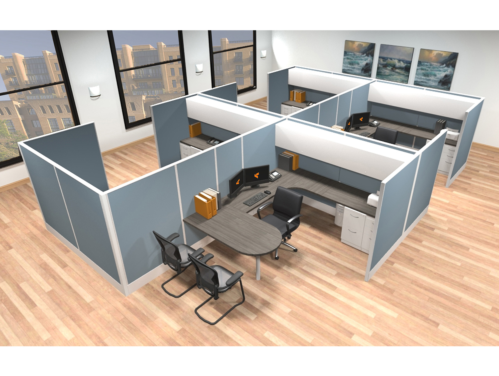8x12 modular workstations from AIS - 6 Pack Cluster