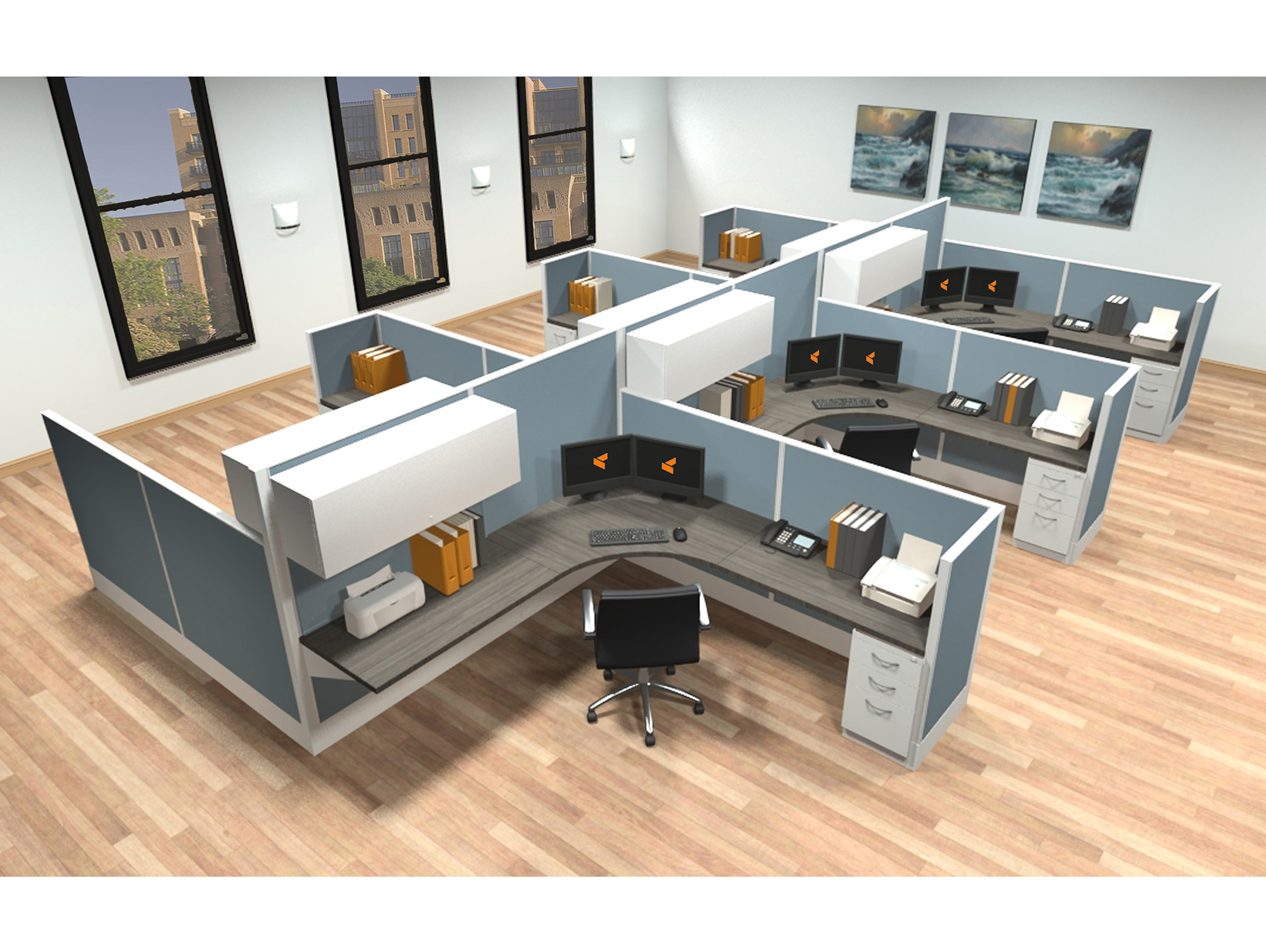 8x8 modular workstations from AIS - 6 Pack Cluster