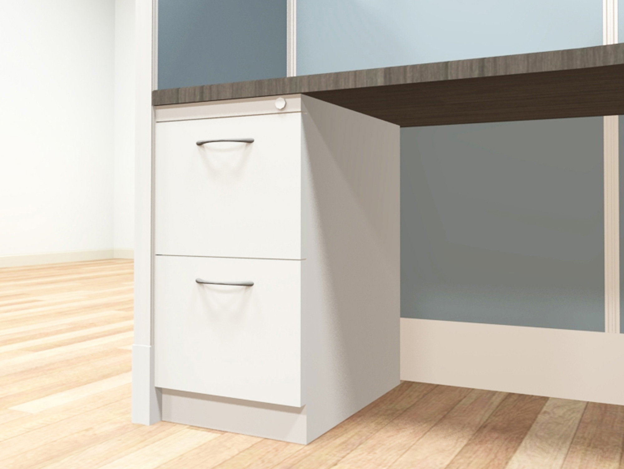 8x8 modular workstations from AIS - a �file-file� pedestal is an under-surface storage cabinet with two deep drawers designed for hanging files. Lock and key secures all drawers from unwanted visitors.